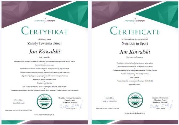 Certyfikat po kursie dietetyki online