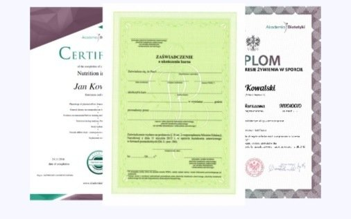 zaświadczenia MEN i dyplom - Akademia Dietetyki